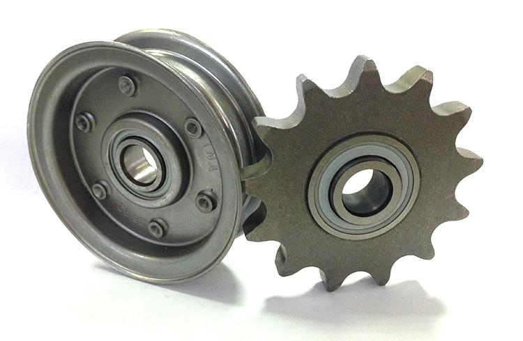Roller chain idler pulley units